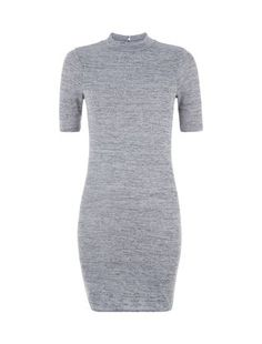 Teens Grey 1/2 Sleeve Bodycon Dress  | New Look