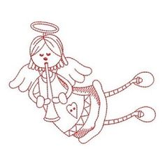 Redwork Stick Angel Girls 6 - 3 Sizes! | What's New | Machine Embroidery Designs | SWAKembroidery.com Ace Points Embroidery