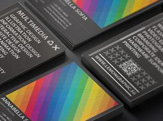 Rainbow Typography business card design is a updated version of initial rainbow business card design. Creating two set of rainbow stripes which appear as a section of colors in an opposite manner. This result in a spectrum of light just like what you see in a double rainbow.