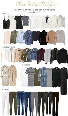 The Ultimate Capsule Closet Checklist. White blouse olive green jeans leather or suede jacket light khaki or cream trench coat chambray shirt destroyed denim jeans. Capsule Outfits, Fashion Capsule, Mode Outfits, Fall Outfits, Outfit Winter, Travel Outfits, Cheap Outfits, Summer Outfits, Airport Outfits