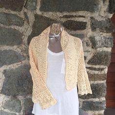 Beautiful Handmade Crochet Cotton Sweater by VintageKleidoscope