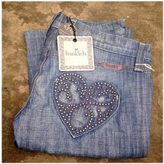Frankie b. Slim Bootcut Jeans with Beaded Hearts New❗️Never Worn -low rise -zipper with one snap -see my other listings if you need another size. I'm listing inventory from a shop that closed. Frankie B. Jeans Boot Cut