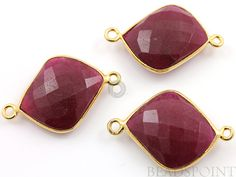 Dyed Ruby Bezel Fancy Cut Calcedony Component 24K by Beadspoint, $6.99