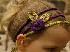 bandeau fleurs 02 en Natura just cotton DMC Headband Bebe, Headbands, Knit Headband, Crochet For Kids, Crochet Baby, Knit Crochet, Crochet Hair Accessories, Crochet Hair Styles, Crochet Crafts