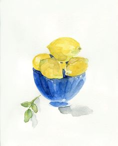 Lemons in Blue bowl art print of still life  by TheJoyofColor, $21.00