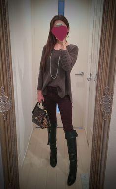 Brown shirt, skinny pants, leopard bag and black long shoes - http://ameblo.jp/nyprtkifml