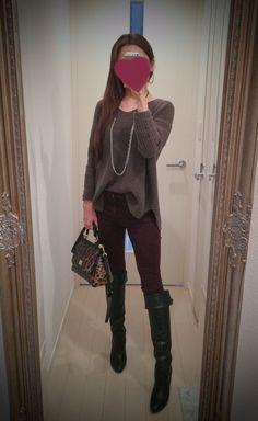 Brown shirt, skinny pants, leopard bag and black long shoes - http://ameblo.jp/nyprtkifml