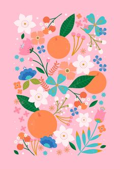 Carly Watts Illustration: Orange Blossom #pattern #summer #illustration #oranges #floral #flowers #folk