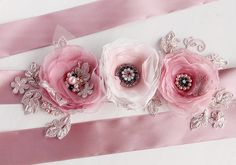 Dusty Pink Bridal Sash Flower Sash Wedding Gown by NoviaBellaTS