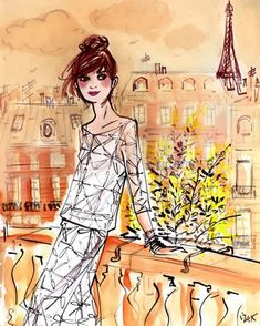 Mimosa Girl: canvas wall art by fashion illustrator Izak Zenou. 24x30, $127.20 for a limited time during the Wheatpaste Veteran's Day sale!