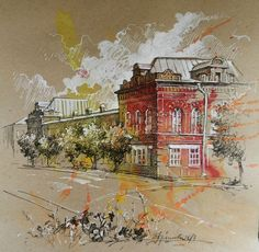 Watercolor Architecture, Architecture Drawings, Pastel Art, Pastel Drawing, Cool Drawings, Drawing Sketches, Building Painting, Toned Paper, Art Moderne