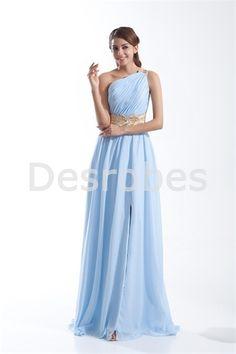 Robe de soirée bleu céleste élégante une épaule avec fente avant/ceinture