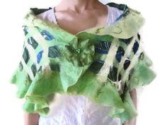 https://www.etsy.com/treasury/MTI3NjQxNzN8MjcyMTYxNDcyMQ/march-186  Green nuno felt wool silk shawl wrap scarf ruffle by feltinga, $34.90
