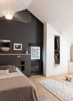 Simple room: ideas for decorating a room with few features - Home Fashion Trend Dream Spaces, Small Space Interior Design, Home, Bedroom Design, House Interior, Bedroom Inspirations, Home Deco, Modern Bedroom, Interior Design