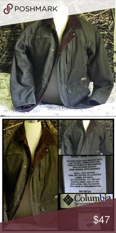 ~Men's L Columbia Barn Field Jacket~  Olive Green Excellent Condition! Wool-lined, Button-up. Perfect Fall Jacket for your guy! Solid Olive Green with Brown Corduroy Collar. Classic! Columbia Jackets & Coats Military & Field