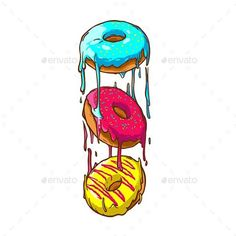 Buy Donuts by RiverOne on GraphicRiver. three donuts with liquid cream Donut Drawing, Candy Drawing, Food Drawing, Graffiti Doodles, Graffiti Art, Drawing Sketches, Art Drawings, Donut Logo, Posca Art