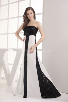 A-line Satin Strapless Empire Floor-Length Zipper Sleeveless Bowknot Sequins Black White prom dress  picture 1