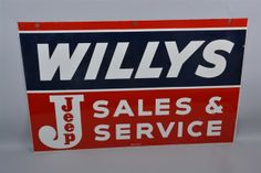 Willy's Jeep Sales & Services Advertisement - Coming up for auction on August 1st at the Iowa Gas Auction in Des Moines, Iowa. #Willys #Jeep #IowaGas #Advertisement #Memorabilia #MorphyAuctions