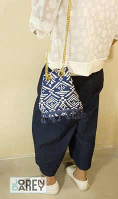 Made in Korea. le‧junev Round Shaped Blue Ethnic Bag
