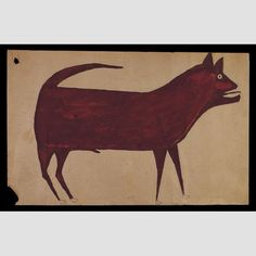 "UNTITLED (Dog)/ Bill Traylor (c. 1854–1949), 1939–1942, pencil, crayon, and poster paint on cardboard, 18 1/4 × 26 1/2"". Gift of Herbert Waide Hemphill, Jr., 1990.1.1. Photo credit: Gavin Ashworth"