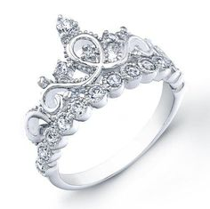 Wish | 925 Sterling Silver Crown Ring / Princess Ring - I need this in white gold and real gems! x3