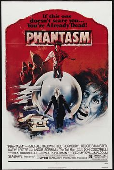 Phantasm is a 1979 American horror film directed, written, photographed, co-produced, and edited by Don Coscarelli. It introduces the Tall Man (Angus Scrimm), a supernatural and malevolent undertaker who turns the dead into dwarf zombies to do his bidding and take over the world. He is opposed by a young boy, Mike (Michael Baldwin), who tries to convince his older brother Jody (Bill Thornbury) and family friend Reggie (Reggie Bannister) of the threat.