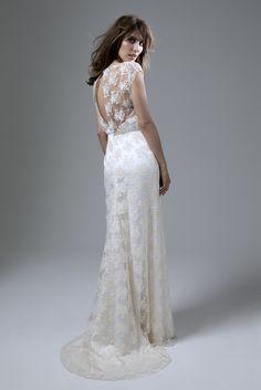 Wedding dress by Halfpenny London   Bridal Fashion by Kate Halfpenny   Embroidered tulle, slash neck, open back, column skirt, godet puddle train. Lydia Rose Dress. http://www.halfpennylondon.com/