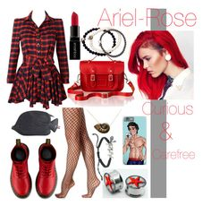 """#22. Ariel-Rose"" by nadelleloves ❤ liked on Polyvore featuring Dr. Martens, Hue, Disney, Smashbox, Thom Browne, The Cambridge Satchel Company, Duchess of Malfi and modern"