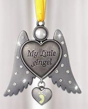 Banberry Designs Jeweled Angel Hanging Ornament Baby Footprint Heart Shaped