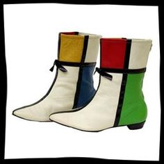 654a097c27aab Mary Quant 1960s Mondrian Boots. Chaussures Vintage, Chaussures Plates,  Soulier Femme, Mode