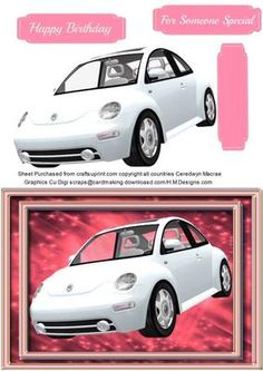 Lovely White Beetle car on pink  on Craftsuprint - Add To Basket!