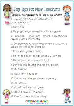 Top Tips for New Teachers from our Facebook fans Blog Post and Free Printable file