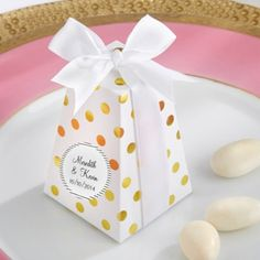 Gold Dot Favor Boxes with Personalized Labels for Engagement, Bridal shower, Rehearsal dinner, Wedding (($))