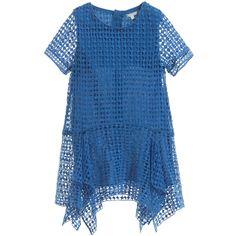 Chloé - Blue Cotton Guipure Lace Dress | Childrensalon