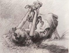 Vintage Disney Alice in Wonderland: David Hall Story Art Stills - Alice Plays With Dinah