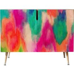 Dot & Bo Vitality Credenza - Wood Legs ($958) ❤ liked on Polyvore featuring home, furniture, storage & shelves, sideboards and neon furniture