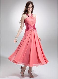 A-Line/Princess Scoop Neck Tea-Length Chiffon Bridesmaid Dress With Ruffle Beading Sequins