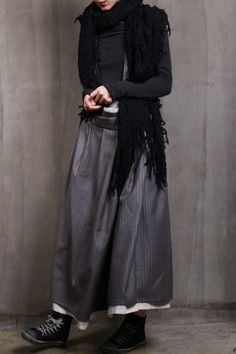 Striped Long Woolen Skirt