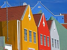 Colors in Willemstad, Curacao Island, Dutch Antilles, Caribbean ,Recommend to visit this island! Caribbean Decor, Oranjestad, Willemstad, By Plane, Rooms For Rent, Dutch, Places To Go, Around The Worlds, Fun Travel