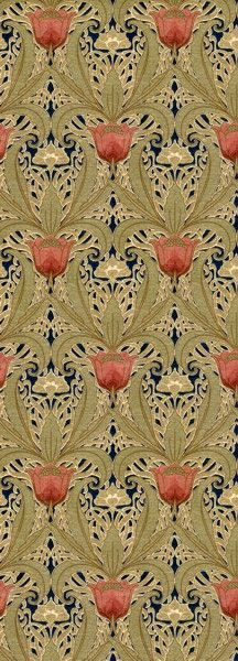 Art Nouveau Tulip Garden wallpaper ~ 1890-1910.