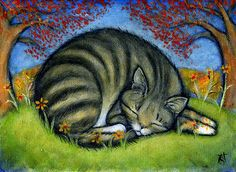 Art by Heidi Shaulis. #cats #art #cute