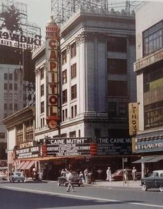 Broadway in Manhattan, 1954. This photo shows the Capitol Theatre and Lindy's restaurant.