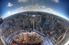  My dad knows an engineer working on One World Trade center in New York. He took these awesome pictures from an altitude of 1115ft