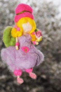 waldorf purple fairy,rose magic girl,Needle felting waldorf fairy, little angel girlwith rosa by crystalhada on Etsy