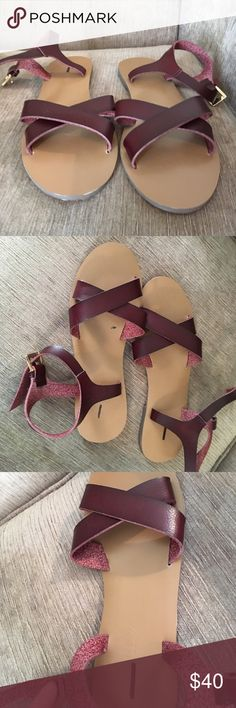 JCrew Leather Sandals Size 6 Never worn, brand new JCrew leather sandal women's size 6. Very good quality and structure, great for summer. Really love these and only selling because I am attempting to purge my closet. Leather is a reddish brown color and soles are deep tan. J. Crew Shoes Sandals