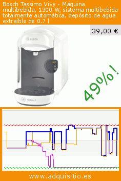 Bosch Tassimo Vivy - Máquina multibebida, 1300 W, sistema multibebida totalmente automática, depósito de agua extraíble de 0.7 l (Cocina). Baja 49%! Precio actual 39,00 €, el precio anterior fue de 75,73 €. https://www.adquisitio.es/bosch/multibebidas-tassimo