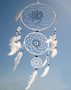 This Dream Catcher Heavenly dream, White, Black, Dreamcatcher, Large Triple Dream Catcher, Beads, Feathers.  It will defend you and your