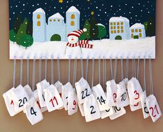 advent calendar - not picture but idea Bags can gave a treat and that days bible reading. Maybe picture of Nativity instead.