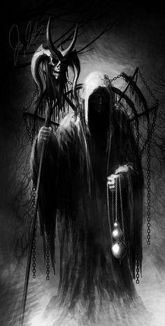 Fantasy Rpg, Dark Fantasy Art, Grim Reaper Art, Dark Art Tattoo, Reaper Tattoo, Beautiful Dark Art, Dark Artwork, Classic Horror Movies, Arte Horror