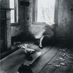 "Francesca Woodman - House# 3, 1976 ""Her images invariably show a lone figure (often herself), photographed in a house, the ultimate traditional, domestic setting. But the setting is deeply unsettling: in this semi-derelict home, wallpaper peels off walls, floors are filthy, rooms stripped bare.""Susie Stubbs, Curator"